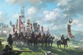 Picture clouds, Japan, army, armor, flags, riders, peaks, samurai