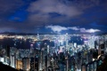 Picture the sky, clouds, night, lights, view, height, Hong Kong, skyscrapers, backlight, panorama, China, blue, megapolis, ...