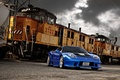 Picture the sky, clouds, train, blue, blue, train, Acura, Acura, NSX