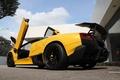 Picture Lamborghini, yellow, Murcielago, lamborghini, wing, murcielago, yellow, lp670-4 sv, the sky, bottom view, clouds