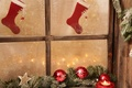 Picture new year, light, holiday, snow, window, stockings