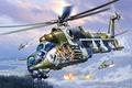 Picture development, Mi-24, art, combat, transport, Soviet, OKB, Russian, Mil., helicopter
