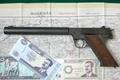 Picture weapons, map, money, gun