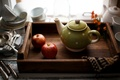 Picture kettle, still life, apples, tray