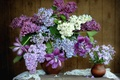 Picture bouquet, tulips, lilac, Phlox