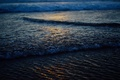 Picture sand, foam, water, macro, glare, shore, wave, twilight
