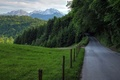 Picture mountains, road, road, Nature, greens, field, trees, green, forest, scenery, forest, nature, mountain, trees, grass, ...