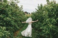 Picture the bride, wedding, Apple Trees, joy, alley