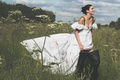Picture grass, summer, makeup, trees, outfit, boots, Vogue, Kendall Jenner, clouds, dress, model, the sun, Kendall ...