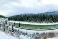 Picture winter, forest, snow, trees, mountains, Canada, panorama, railroad, river, Banff