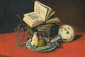 Picture table, picture, plate, knife, book, Still life, J. de Clercq