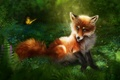 Picture rendering, Fox, red, nature, butterfly, grass, Fox