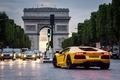 Picture Paris, Lamborghini Aventador, yellow, night, Paris, cars