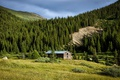Picture USA, forest, the sun, summer, greens, glade, the barn, trees, Colorado, mountains