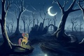 Picture the moon, night, pony, My little pony, lantern, forest