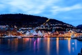 Picture Bergen, Mountains, home, Norway, the city, sea, lights, boats, the evening, pier, Norway, building, harbour