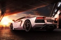 Picture Reflection, Lamborghini, Beauty, Aventador, LP700-4, Sunset, Rear, Supercar, Sky