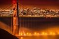 Picture lights, bridge, San Francisco, night, fog, Golden gate, CA