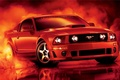 Picture red, reflection, tuning, smoke, mustang, Mustang, ford, drives, Ford, tuning, the front, Muscle car, Muscle ...