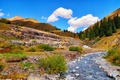 Picture autumn, the sky, clouds, mountains, river, stream, stones, slope