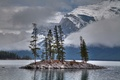 Picture clouds, snow, trees, mountains, lake, island