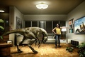 Picture girl, photo, room, dinosaur, humor, TV