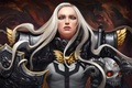 Picture look, girl, fiction, armor, warrior, art, armor, shield, white hair