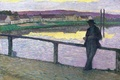 Picture picture, bridge, Henri Lebacq, home, the evening, male, Young Man in front of the Sea, ...