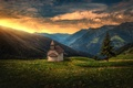 Picture Alps, spruce, Italy, mountains, panorama, chapel, tree, South Tyrol, Alps, South Tyrol, Italy, sunset